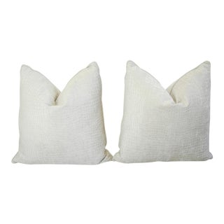 "24"" Boho Chic White Crocodile Velvet Feather/Down Pillows - Pair For Sale"