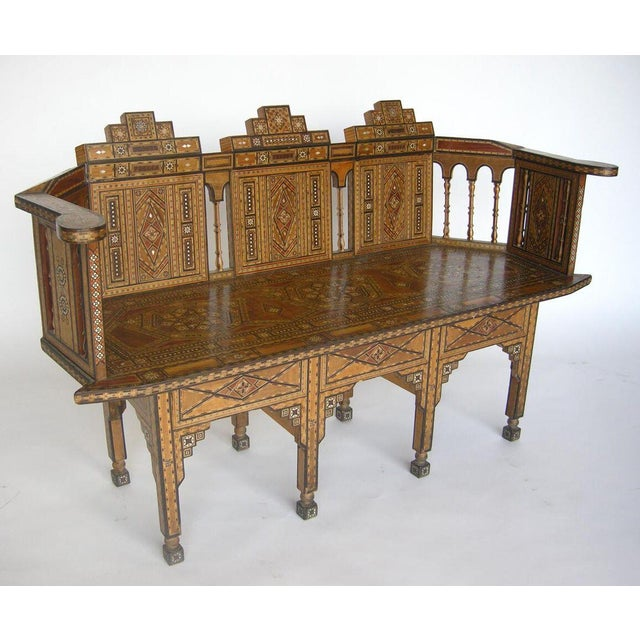 Islamic Levantine Syrian Inlay/Parquetry Bench For Sale - Image 3 of 11