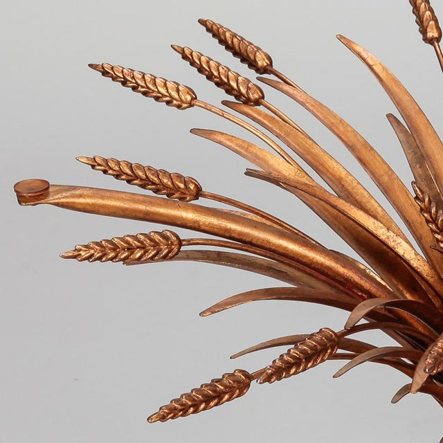 Mid Century Gilded Metal Wheat Sheaf Table For Sale In Detroit - Image 6 of 9