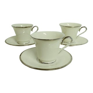 """Vintage Lenox """"Solitaire"""" Cup & Saucers Tea/Coffee Usa - Set of 3 For Sale"""