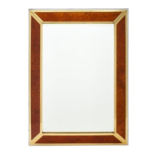 French Modernist Burled Wood Mirror For Sale