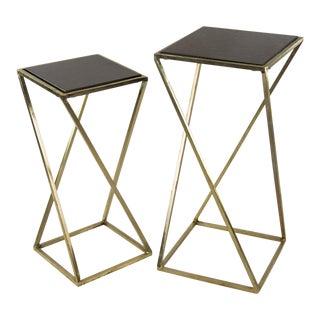 Aubrey Steel & Granite Accent Tables - a Pair For Sale