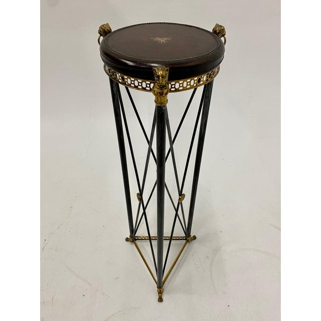 Empire Style Brass Steel and Leather Pedestal For Sale - Image 9 of 9