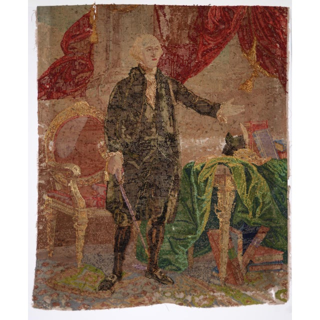 George Washington Hand Embroidered Tapestry C. 1850s For Sale - Image 11 of 13