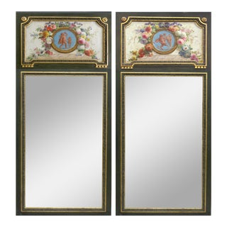 Monumental French Hand-Painted Trumeau Mirrors - A Pair For Sale