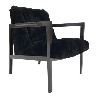 VINTAGE EDWARD WORMLEY FOR DUNBAR MODEL 406 LOUNGE CHAIR REUPHOLSTERED IN BRAZILIAN SHEEPSKIN For Sale