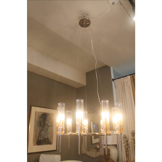 Eight Light Rose Gold Glass Chandelier - Image 7 of 7