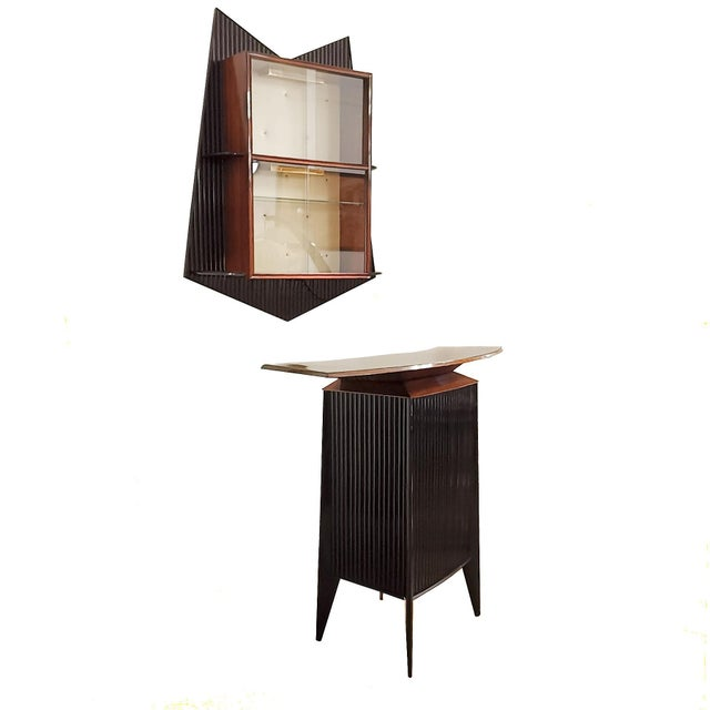 Spectacular bar counter and vitrine in solid stained mahogany, sycamore veneer inside, French polish, with drawer and...
