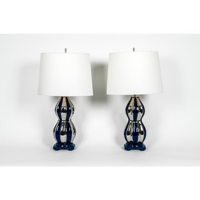 Contemporary Mid-Century Modern Porcelain Table Lamps - a Pair For Sale - Image 3 of 12