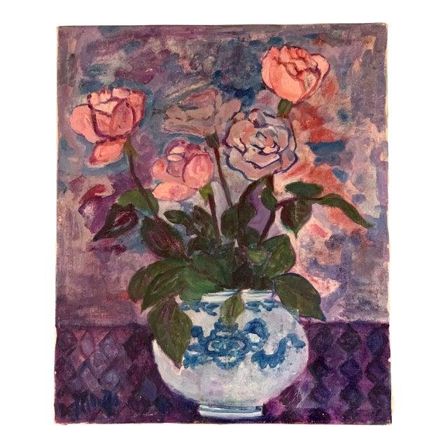 Original Vintage Impressionist Painting, Roses in Vase, Signed For Sale