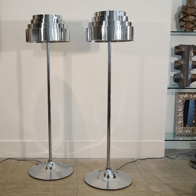 "This is for a pair of Mid Century Chrome Torchere Floor Lamps. Chrome over steel modernist torchere. Diameter of top 17""..."