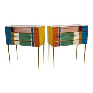 Italian Mondrian Style Blue Green Yellow Chests - a Pair For Sale