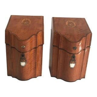 Inlaid Cutlery Boxes - A Pair