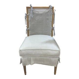French Linen Upholstered Chair With Apron Accent For Sale