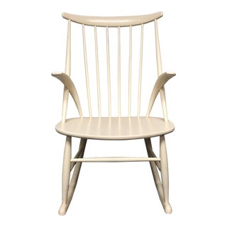 Kristian Lilum Wikkelso Mid-Century Cream Wood Rocking Chair