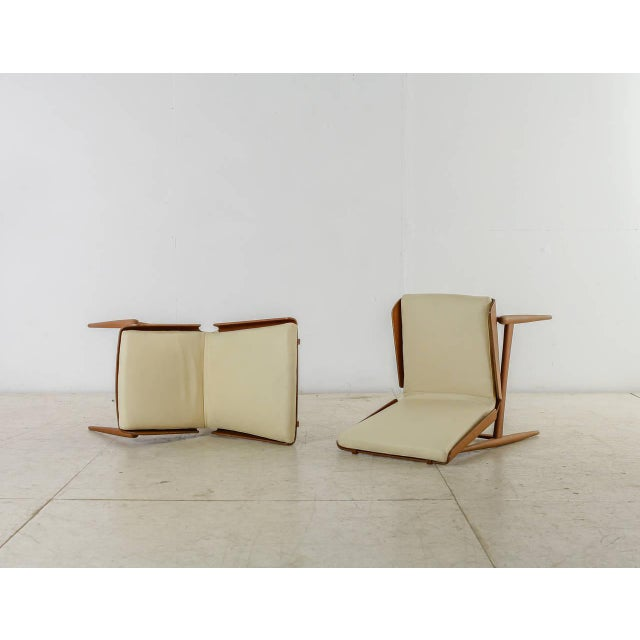 Mid-Century Modern Pair of Folded Plywood and Leather Italian Side Chairs, 1950s For Sale - Image 3 of 7