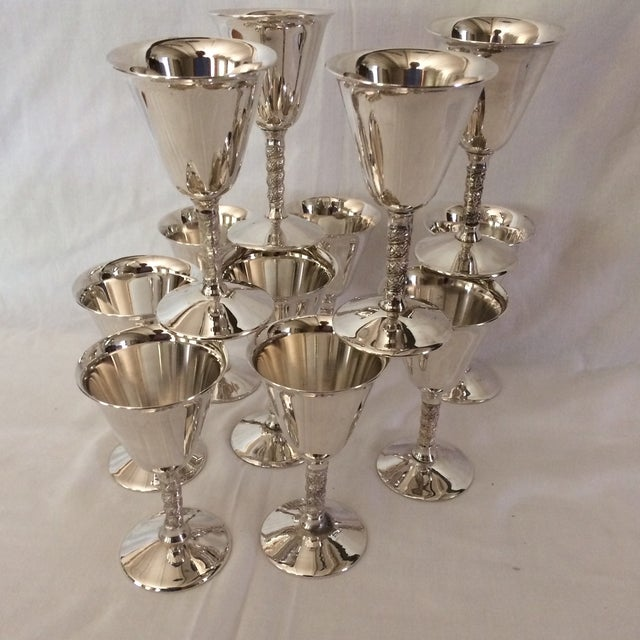 12 Vintage Silver Plated Rogers Rope Twist Wine Goblet made in Yugoslavia - Image 8 of 11