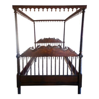 19th Century Portuguese Spool Canopy Bedframe For Sale
