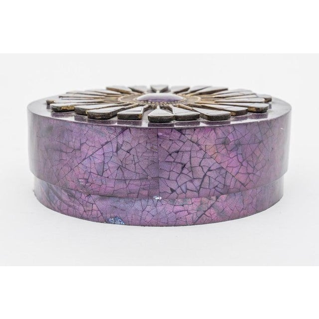 Aubergine Pen Shell Box by R & Y Agousti Paris 1990s For Sale In West Palm - Image 6 of 9