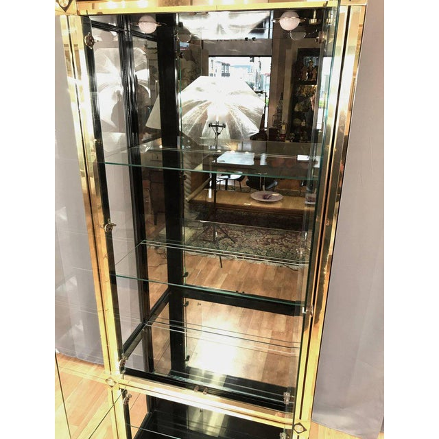 Brass 1970s Mid-Century Modern Mastercraft Towering Brass and Glass Vitrine For Sale - Image 7 of 11
