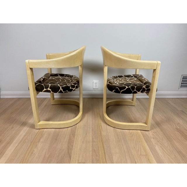 """A very rare pair of authentic vintage 1980's Karl Springer LTD, """"Jackie O"""" / Onassis chairs in lacquered goatskin..."""