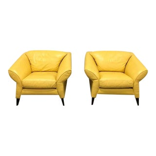Memphis Style Bright Yellow Club Chairs - a Pair For Sale