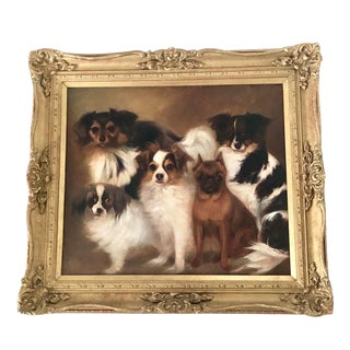 19th Century Antique English Spaniels and Pug Dog Portrait Oil on Canvas Painting For Sale