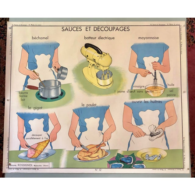 Blue 1950s Vintage French Home Cooking School Poster For Sale - Image 8 of 8