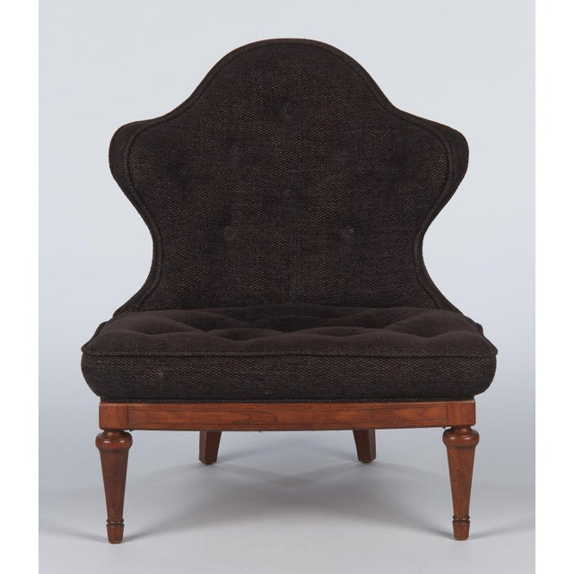 1960s Hollywood Regency Crest-Back Button-Tufted Chair For Sale - Image 13 of 13