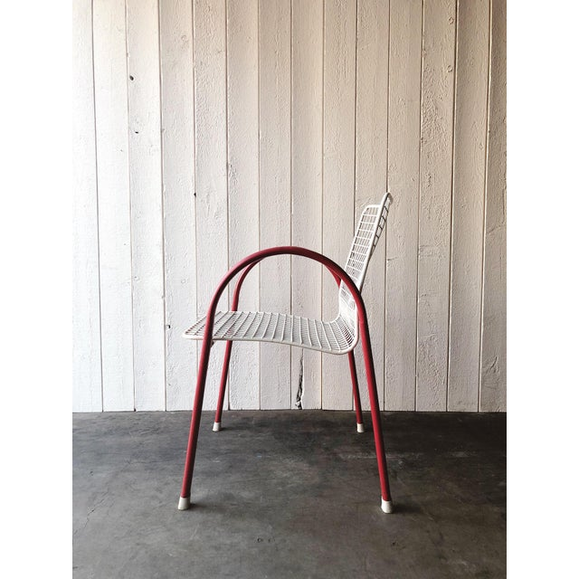 80's Vintage Designer Arc Grid Patio Chairs For Sale - Image 10 of 12