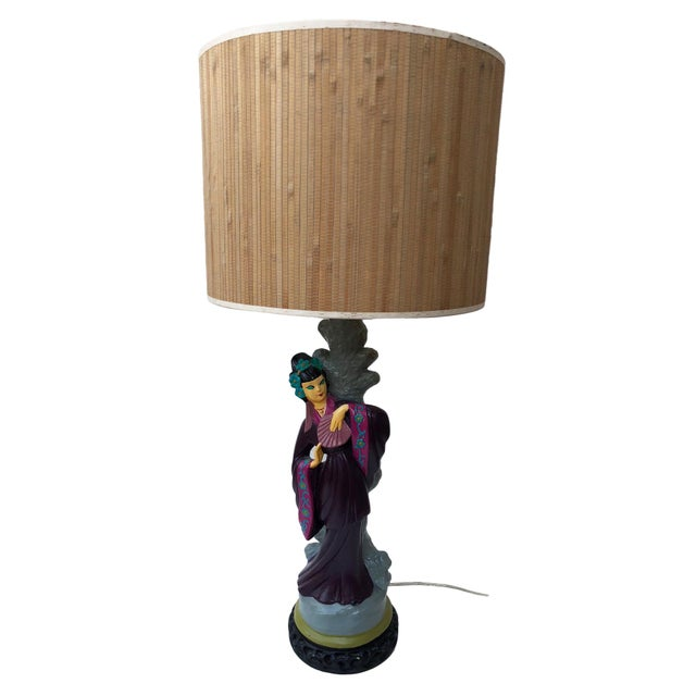 This is a gorgeous pair of Asian Figural table lamps, incl. the bamboo shades. They were lovingly hand-painted in bold...