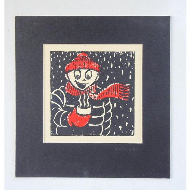 Serigraph on paper of character bundled up for winter holding a steaming cup of coffee or hot chocolate. In red and black,...
