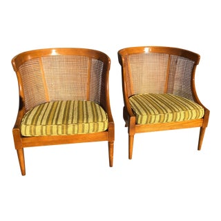 Vintage Mid Century Danish Barrel Cane Chairs- A Pair For Sale