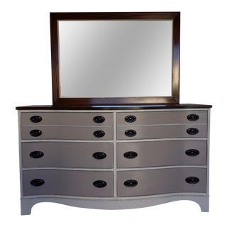 Vintage Bow Front Dresser With Mirror For Sale