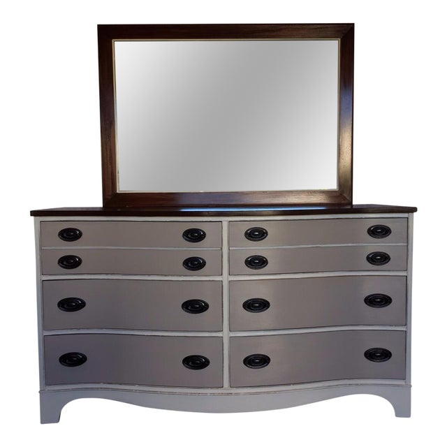 Vintage Bow Front Dresser With Mirror - Image 1 of 5