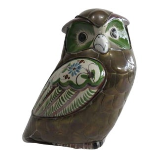 Sergio Bustamante Style Brass and Ceramic Owl Sculpture Mid Century Modern For Sale
