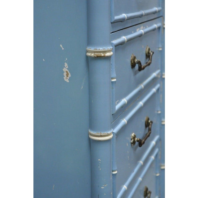 Blue 20th Century Chinese Thomasville Allegro Faux Bamboo 7-Drawer Blue Painted Tall Lingerie Chest For Sale - Image 8 of 11