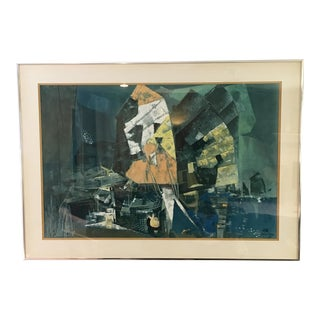 Vintage Mid-Century Abstract Lithograph For Sale