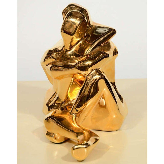 Gold Mid-Century Modern 24-Karat Gold Plated Ceramic Cubist Sculpture by Jaru For Sale - Image 8 of 10