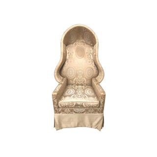 Custom Louis XV Cream Silk Damask Porter's Canopy Hooded Chair For Sale