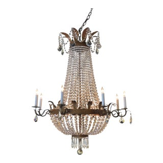 Gilt Metal and Crystal 8-Arm Chandelier With Four Interior Lights For Sale