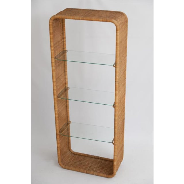 Wrapped Rattan & Wicker Etagere For Sale - Image 4 of 4