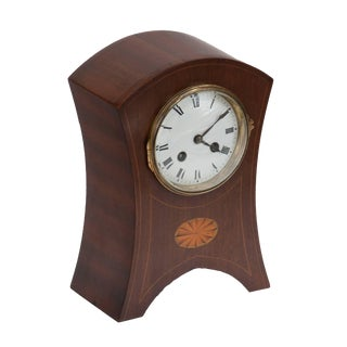 Late 19th Century Edwardian Mahogany Clock With Decorative Oval Inlay For Sale