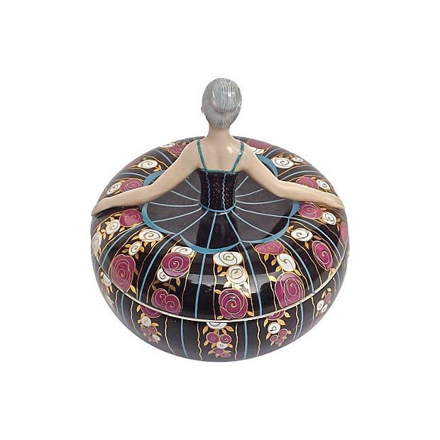 How sweet is this French Art Deco style porcelain ballerina lidded box?! It depicts a ballerina, with her head and torso...
