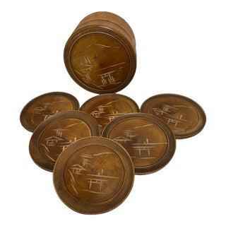 1950s Vintage Japanese Hand-Carved Coaster Set With Caddy- 7 Pieces For Sale