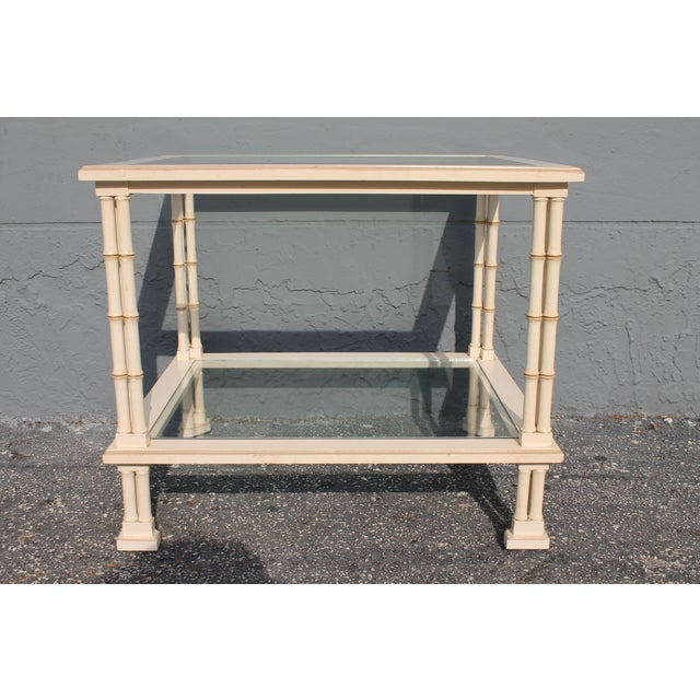 Hollywood Regency 1960s Hollywood Regency Triple Stalk Off White Faux Bamboo Accent/Side Table For Sale - Image 3 of 9