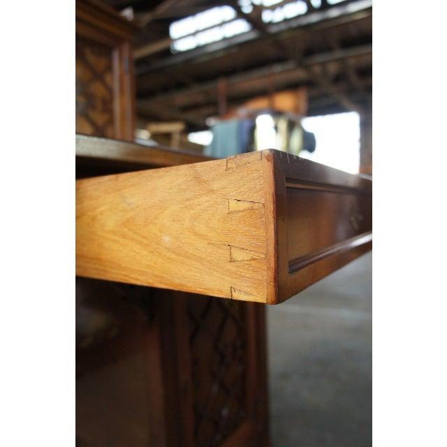 Brown Antique Victorian German Desk Green Vinyl Top Gothic Pierced Fret Board Writing Desk For Sale - Image 8 of 13