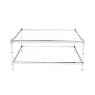 Large 37x37 Square 2 Tier Chrome Brass Glass top Coffee Table For Sale