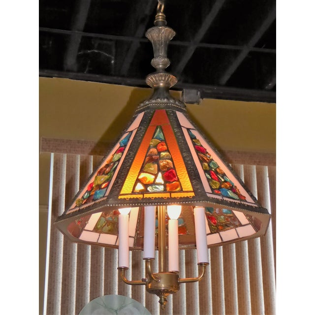 Brutal Stained Glass Modern Hollywood Regency Chandelier 1950s - Image 10 of 10
