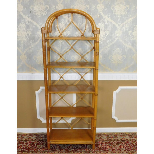Arched Rattan & Bamboo Etagere - Image 2 of 7